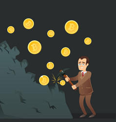 cryptocurrency concept with happy businessman vector image