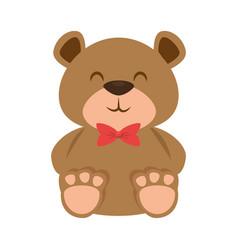 Cute bear teddy with bowtie vector