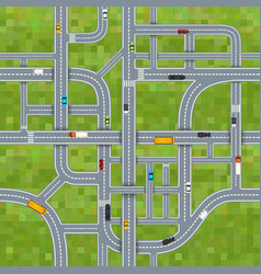 Different road junctions on grass background vector