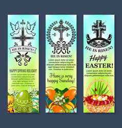 Easter and paschal eggs banners set vector