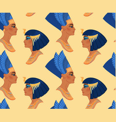 egyptian beauty queens cleopatra and nefertiti vector image