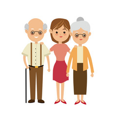 Family people mother with gradpa and grand mom vector