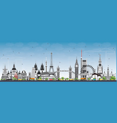 famous landmarks in europe vector image