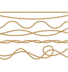 fiber ropes realistic curve nautical rope vector image