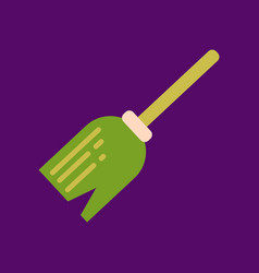 Flat icon on background halloween witchs broom vector