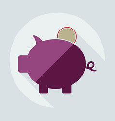 Flat modern design with shadow icons piggy bag vector