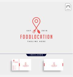 Food pin navigation simple flat luxury logo vector