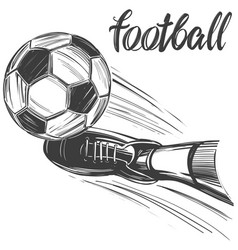 Football soccer ball sports game calligraphic vector