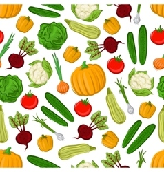 Fresh farm vegetables seamless pattern background vector