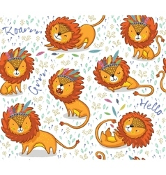 Funny lions seamless pattern with white vector image