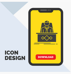 game boss legend master ceo glyph icon in mobile vector image