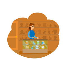 Gift shop person working in souvenir store vector