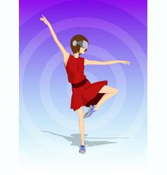 girl dancing in virtual reality headset vector image