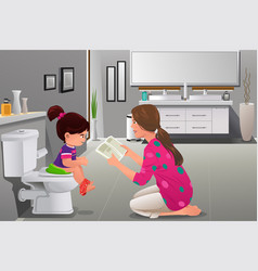 Girl doing potty training with her mother watching vector