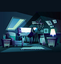 girl s room at night cartoon garret vector image