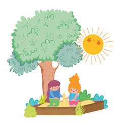 Girls playing in the sand with tree and sun vector