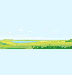 grass fields and meadows with lake landscape vector image