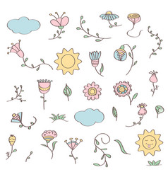 Hand drawn doodle set of flowers vector