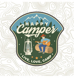 Happy camper patch concept for shirt or vector