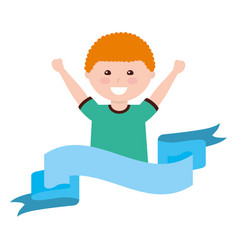happy cartoon boy raising hands vector image