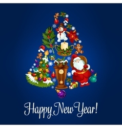 Happy New Year poster of christmas symbols vector image