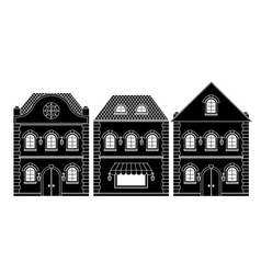 houses black drawing old european buildings vector image