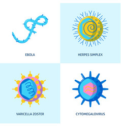 Human virus icons collection in flat style vector
