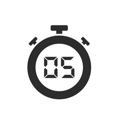 Isolated stopwatch icon with five seconds vector