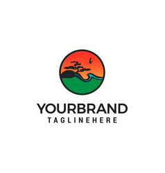 landscape logo design concept template vector image