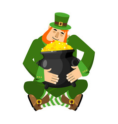 leprechaun and pot of gold my precious stpatricks vector image