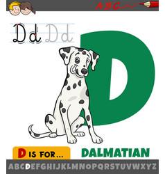 Letter d from alphabet with cartoon dalmatian dog vector