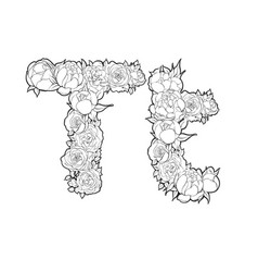 letter t made of flowers vector image