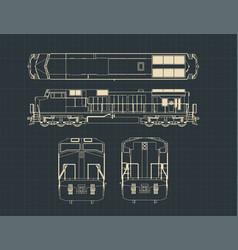 locomotive blueprints vector image