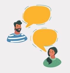 man and woman chatting in speech bubbles vector image