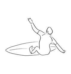 man standing on surfboard sketch vector image