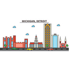 Michigan detroitcity skyline architecture vector