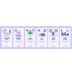 Mobile app onboarding screens industrial vector