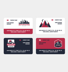 mountains travel emblems set business cards vector image