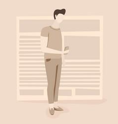 news man reading news online vector image