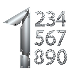 Number Metal construction Isolated on white vector image