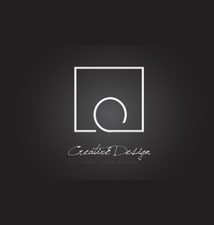 O square frame letter logo design with black and vector