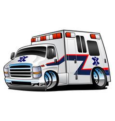 Paramedic ambulance rescue truck cartoon vector