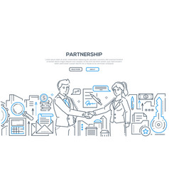Partnership - modern line design style vector