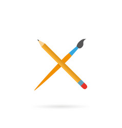 pencil brush in a flat style on a white background vector image