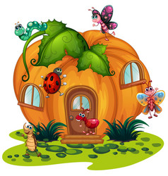 Pumpkin house with many bugs vector