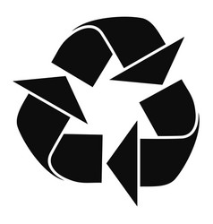 Recycle sign icon simple style vector