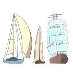 Sailing yachts vector image