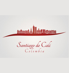 santiago de cali skyline in red vector image