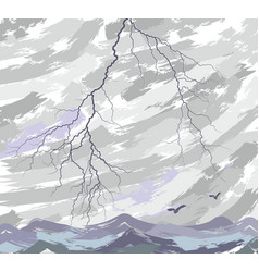 Sea landscape with lightning vector