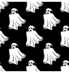 Seamless pattern of white Halloween ghosts vector